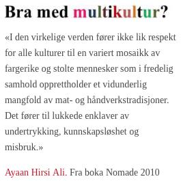 Hirsi Ali om multikultur